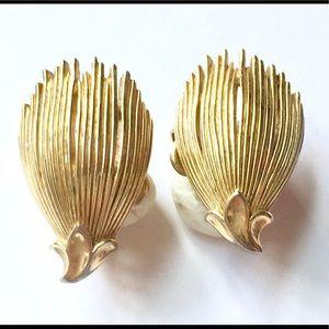 TRIFARI Gold Clip On Earrings Vintage